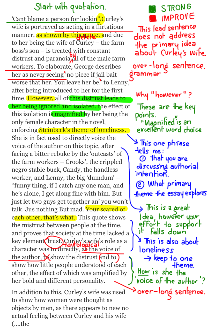 essays of mice and men persuasive essay on of mice and men of mice  of mice and men character paragraphs annotated drafts character paragraph annotated samples 1
