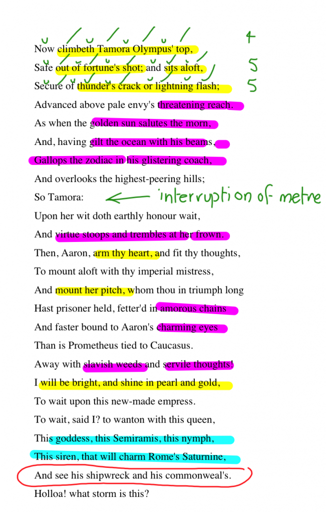 Highlighted Language features in Act 2, Scene 1